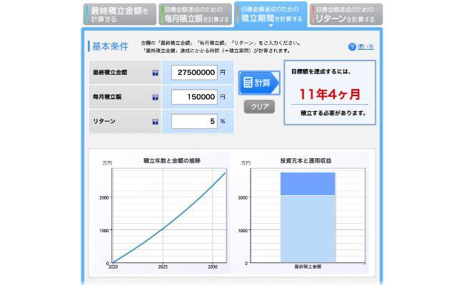 3750万円の積立シミュレーション